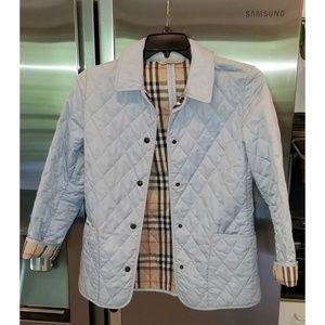 Burberry Blue Nova Check Diamond Quilted Jacket